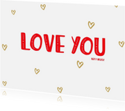Valentijnskaarten - Valentijn Love you hartjes