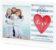 Valentijnskaarten - Valentijnskaart Strepen Hart