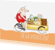 Verhuiskaarten - Varkentje op bakfiets verhuist