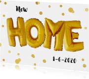 Verhuiskaarten - Verhuisbericht New Home ballonnen goud met confetti