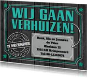 Verhuiskaarten - Verhuisbericht witte en groene teksten op grijze houtprint