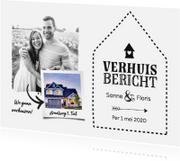Verhuiskaarten - Verhuisbericht - zwart wit met huisje