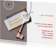 Verhuiskaarten - Verhuisd label sleutel koper