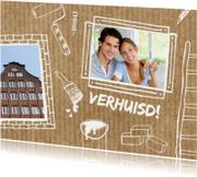 Verhuiskaarten - Verhuisd met tekeningen en foto