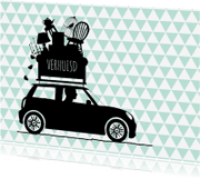 Verhuiskaarten - Verhuiskaart auto driehoekjes av