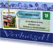 Verhuiskaarten - Verhuiskaart  blauwe huisjes op houtprint