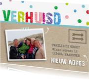 Verhuiskaarten - Verhuiskaart kleurrijk confetti av