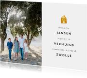 Verhuiskaart met foto en gouden huisje