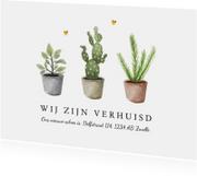 Verhuiskaart nieuw adres met plantjes en gouden hartjes