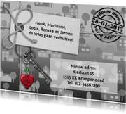 Verhuiskaarten - Verhuiskaart rood hart op zwart