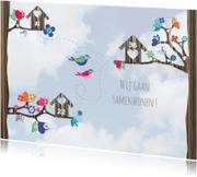Verhuiskaarten - Verhuiskaart samenwonen vogels l