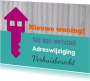 Verhuiskaarten - Verhuiskaart sleutel tekst - SZ