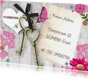 Verhuiskaarten - Verhuiskaart SLEUTELS Bloemen hout