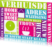 Verhuiskaarten - Verhuiskaart tekst felle kleuren