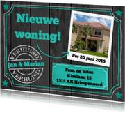 Verhuiskaarten - Verhuiskaart wit en groen op zwarte achtergrond