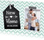 Verhuiskaarten - Verhuiskaart zigzag mint foto label