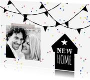 Verhuiskaarten - Verhuiskaart zwart-wit feest