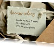 Verhuiskaarten - Verhuizen verhuisdoos met label