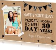 Verjaardagskaarten - Verjaardagskaart typografie foto kraft slinger