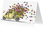 Verjaardagskaarten - Vespa Ape geel bloemen