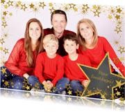 Kerstkaarten - Vrolijke foto kerstkaart goudkleurige sterren