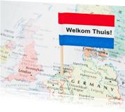 Welkom thuis kaarten - Welkom thuis - vlag op kaart