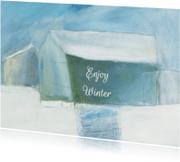Kerstkaarten - Zakelijk Kerst kunst winterhuis