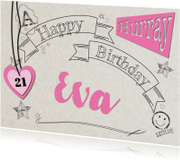 Verjaardagskaarten - Zwarte lijntekening tekst-ByF
