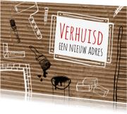 Verhuiskaarten - Zwartwit klus tekeningen