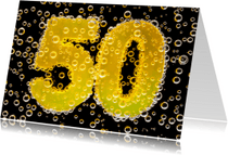 Verjaardagskaarten - 50 in feestelijke champagne