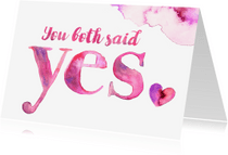 Felicitatiekaarten - Aquarel felicitatie huwelijk