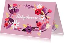 Uitnodigingen - Babyshower bloemen