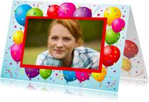 Verjaardagskaarten - Balonnenkader Confetti Foto