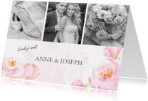Trouwkaarten - Bedankkaart pastel rozen met foto