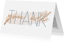 Trouwkaarten - Bedankkaart 'Thank you all' met goudlook en waterverf