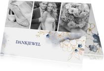 Trouwkaarten - Bedankkaart trouw roos, blauw en goud