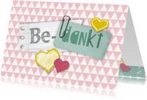 Bedankkaartjes - Bedankkaartje hartjes roze hip