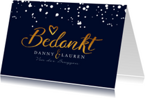 Trouwkaarten - Bedankkaartje huwelijk stijlvol met goud en eigen foto
