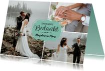 Trouwkaarten - Bedanktkaart huwelijk met foto's en namen