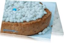 Geboortekaartjes - beschuit met blauw muisje