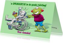 Beterschapskaarten - Beterschapskaart  opkikker met patiënt in rolstoel