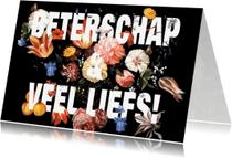 Beterschapskaarten - Beterschapskaart vintage bloemen met donkere ondergrond