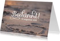 Trouwkaarten - Bruiloft bedankkaart strand