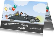 Verjaardagskaarten - Citroen DS zwart krijtbord
