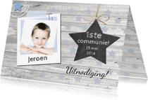 Communiekaarten - communie jongen foto ster