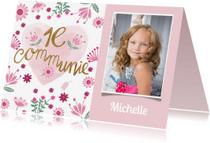 Communiekaarten - Communie meisje roze hart
