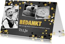 Communiekaarten - Communie stoere bedank kaart krijtbord en spetters