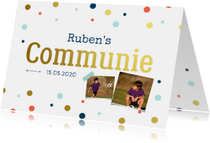 Communiekaarten - Communiekaart jongen confetti