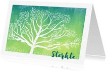 Condoleancekaarten - Condoleance kaart linosnede boom