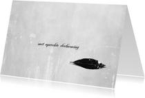 Condoleancekaarten - Condoleancekaart Zwart Blad Deelneming